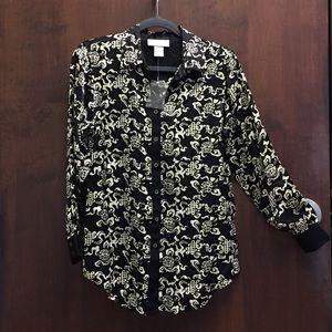 Soft Surroundings silk button down blouse size PS.